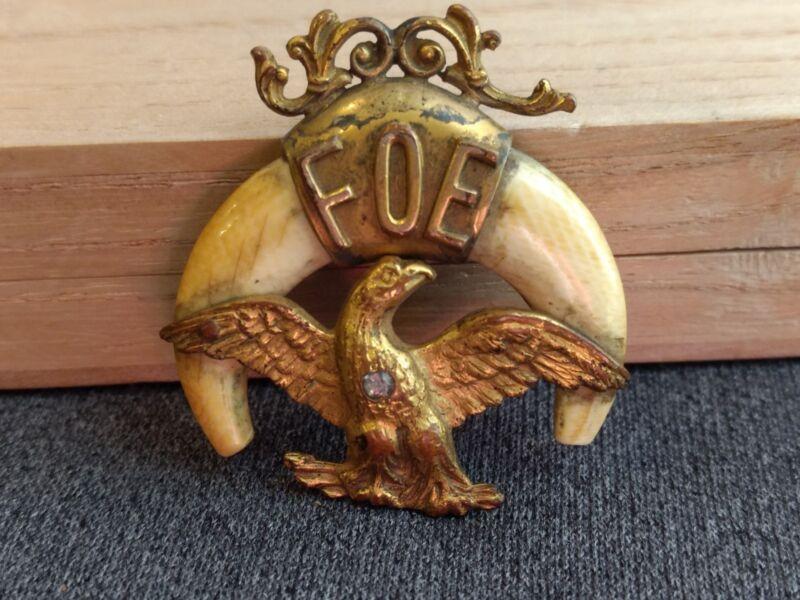 Antique FOE Fraternal Order Of Eagles Claw Gilt Eagle Fob Pendant