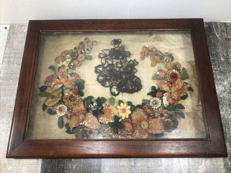 "Large Antique Victorian Era Hair Wreath Framed Death Memorial 24"" x 18"""
