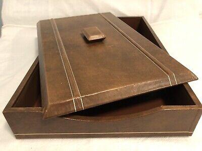 Vtg Covered Letter Desk Tray W Top Brown Leather Gold Trim Felt Bottom