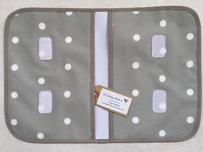 Grey Spot Handmade Oilcloth Baby Nappy/wipes Wallet Wipe Clean