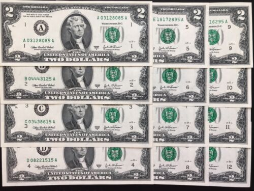 2003 A $2 TWO DOLLAR BILLS ,(12 District full set ) ,UNCIRCULATED