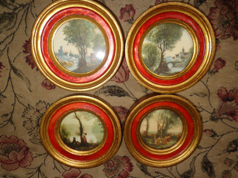 Vintage Italian Wood FLORENTINE Gold Gilt Framed Prints - Set of 4
