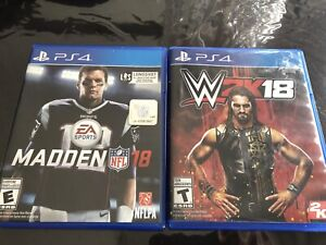 PS4 WWE 2K18 & Madden 2018 Playstation 4 Game Good Condition