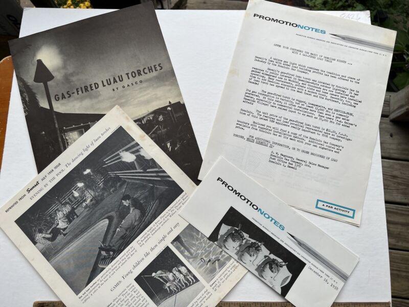 VINTAGE 1958 GAS FIRED LUAU TORCHES BY GASCO HONOLULU GAS HAWAII ADVERTISEMENT