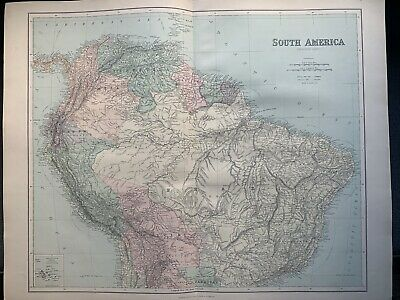1895 South America Large Original Antique Map by George Philip 69 cm x 54 cm