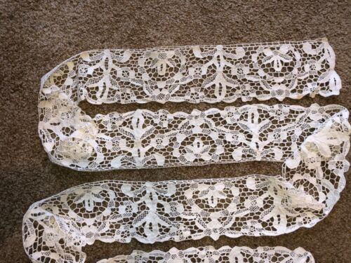 "24 yds x 4""Antique Hand Made Needle Lace Early 20thC MIN. 3 YARD PURCHASE - 1034"