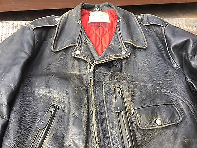 Vintage 1950s Sears Motorcycle Horsehide Leather Jacket D Pocket