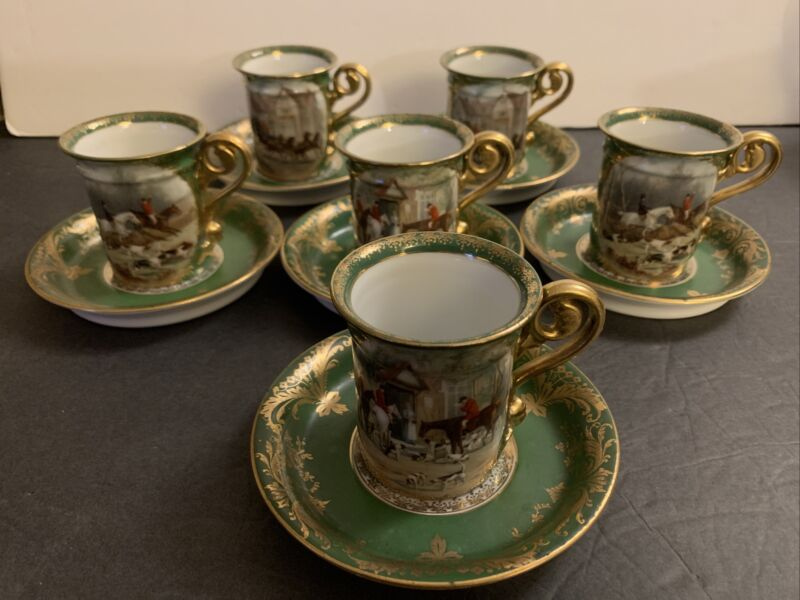 Antique Imperial Crown China Austria 6 Cups & Sucers FOX HUNT VERY RARE