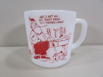 Vintage Westfield Milk Glass Advertising Coffee Mug Santa,Dog Weaver & Sons Tool