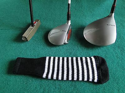 Knitted zebra style Fairway & Driver Golf Club head cover Black / White Zebra Golf Headcover