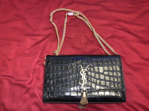 Authentic YSL Saint Laurent Monogram Kate Tassel Crocodile Crossbody Bag Purse
