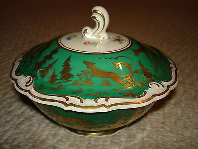 1930's hand painted small bowl lid gold painted deer dog woods forest green gold