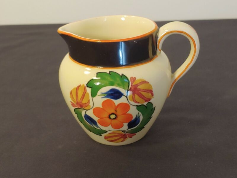 Royal Adams Ivory England Vintage TiTian Ware Small Pottery Creamer Orange Poppy