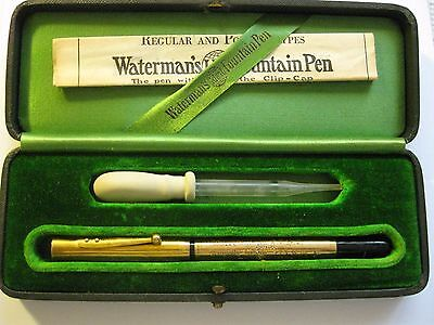 1922 Rare 14K Gold Waterman Ideal Fountain Pen in Box with eyedropper / lever