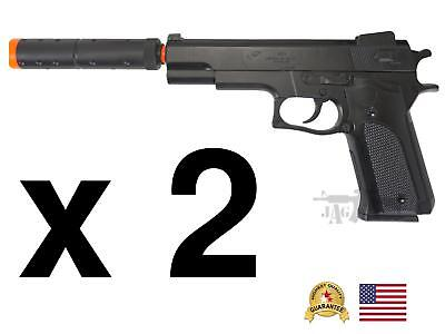2 Pack HFC 250FPS Airsoft Two Spring Pistol Hand Gun Silencer Toy CHEAP Kids Boy