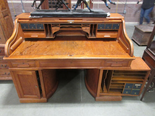 Antique Magnificent Wooton Roll Top Desk Indianapolis Cabinet Co Exec Tambour