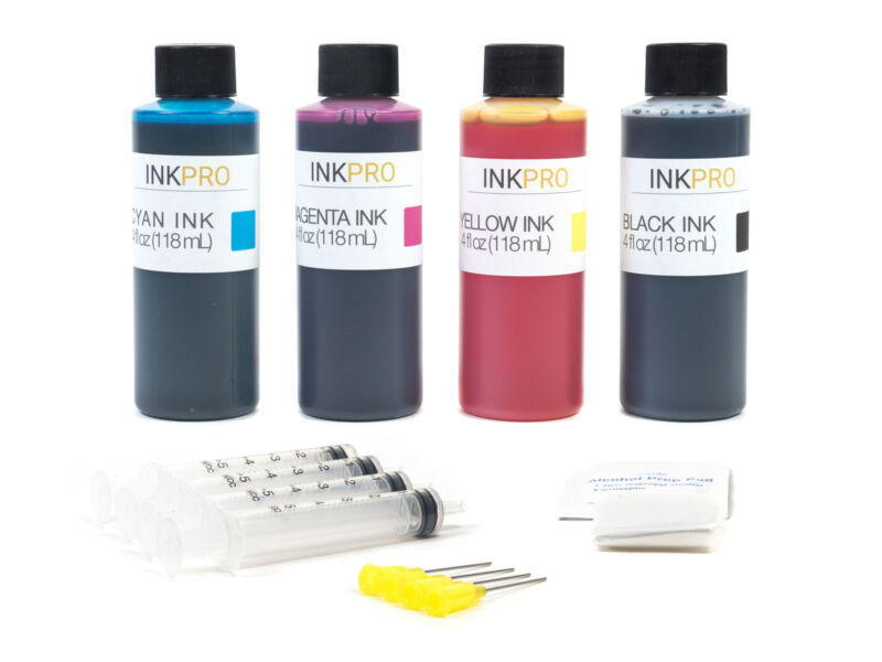 InkPro Premium Combo Ink Refill Kit for HP 60/61/62/63/64/65/XL 4oz/118mL
