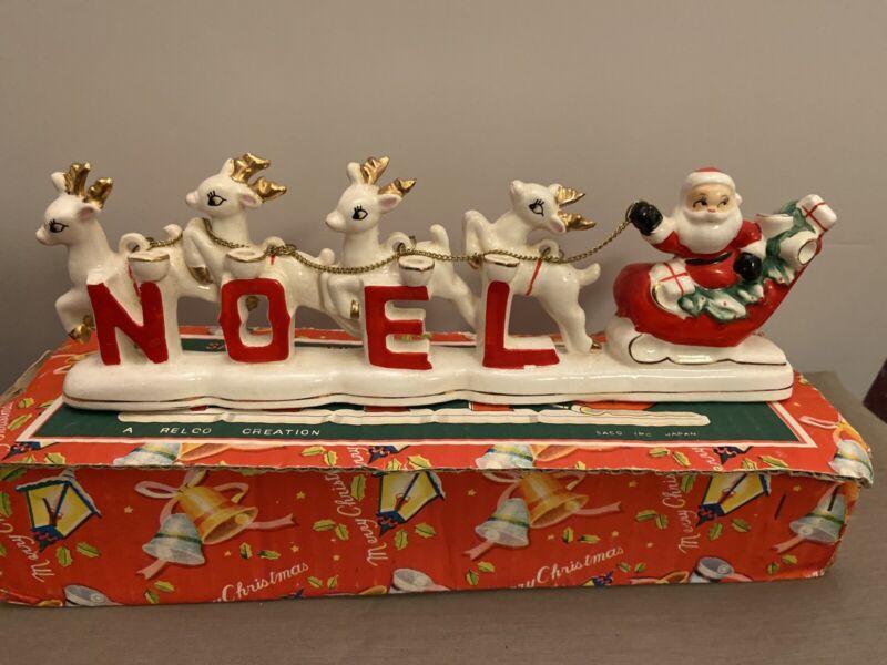 Relco Ceramic Santa & Reindeer Noel Set With Candles Japan