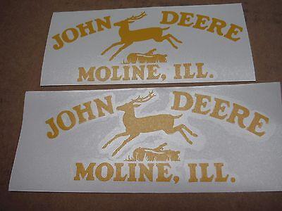 John Deere Leaping Deere Moline Ill. Decals. Set Of Two 2. Vinyl Die Cut