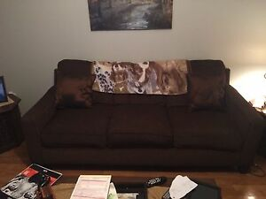 Chocolate couch and love seat
