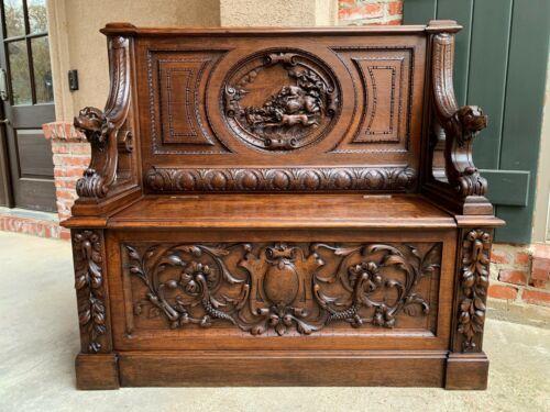 Antique French Carved Oak Hall Bench Black Forest Boar Hunt Hound Dog Settle Pew