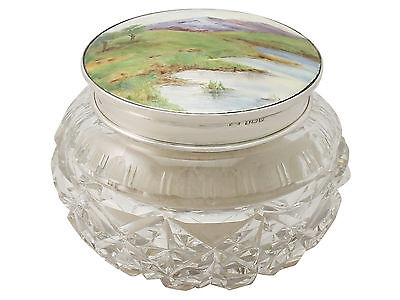 George V Sterling Silver Cut Glass and Enamel Dressing Table Jar 10.5cm Diameter