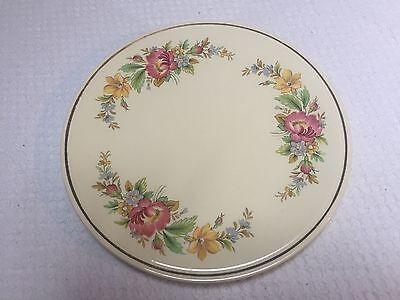 Vintage Homer Laughlin Kitchen Kraft Cake Plate with Virginia Rose Decoration