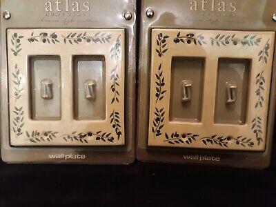 Leaf Wall Plate (Vintage Ceramic Wall Plate Set Atlas Cream Green Leaf Scroll New + Screws )