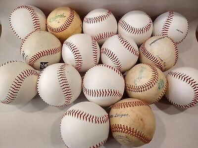 Lot of 16 Baseballs Practice Batting Mix of Used and New Various brands