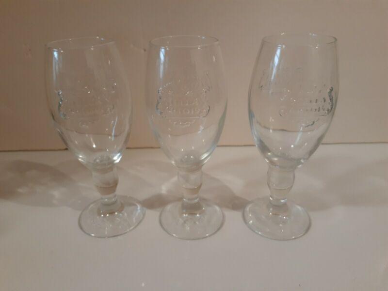 Stella Artois Clear Embossed 1/2 Pint Glasses LOT of 3