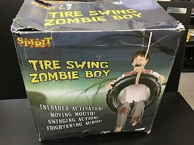 Never Used Older Spirit Halloween Zombie Boy On Tire Swing Animated Prop