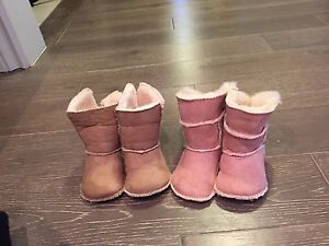 2 PAIR BABY FAUX FUR BOOTIES SIZE 18 / 19 (size 12 month +)