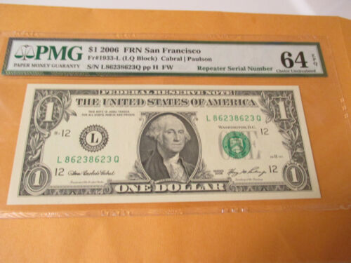 2006 $1 FEDERAL RESERVE NOTE REPEATER SERIAL NUMBER PMG 64EPQ