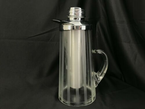"Gilley Inc. Glass & Chrome Chillit-ICE Pitchers ""Chillitube"" Etched Stripe"