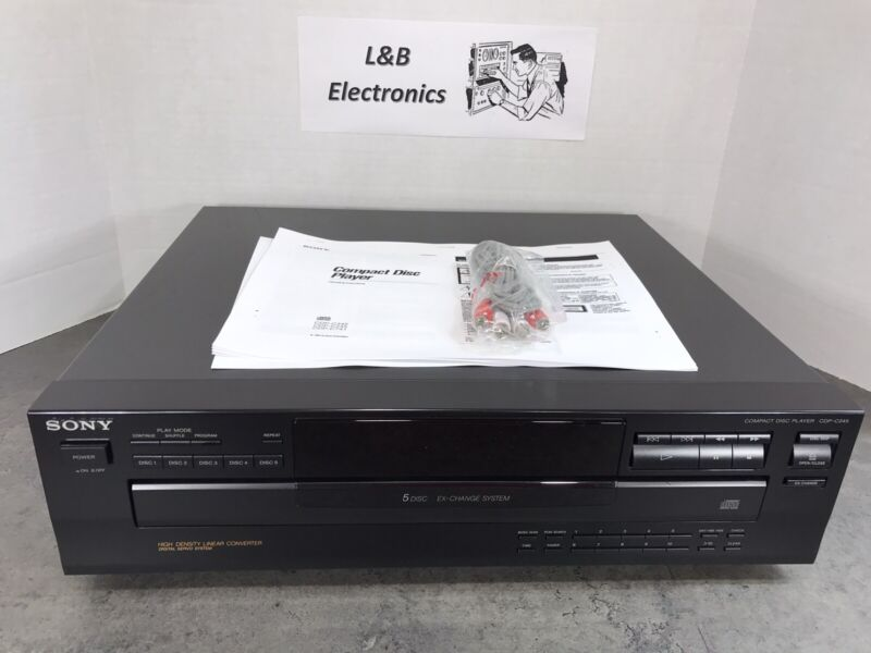 Sony CDP-C245 5 Disc CD Compact Disc Changer/Player W/Cables, Manual - Serviced!