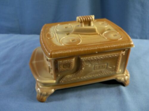 Chocolate Glass Covered Cook Stove Shaped Candy Trinket Dish - L.G. Wright ??