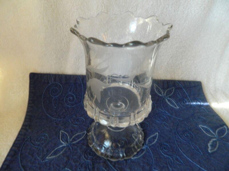 Vintage EAPG Frosted Etched Pressed Glass Spooner