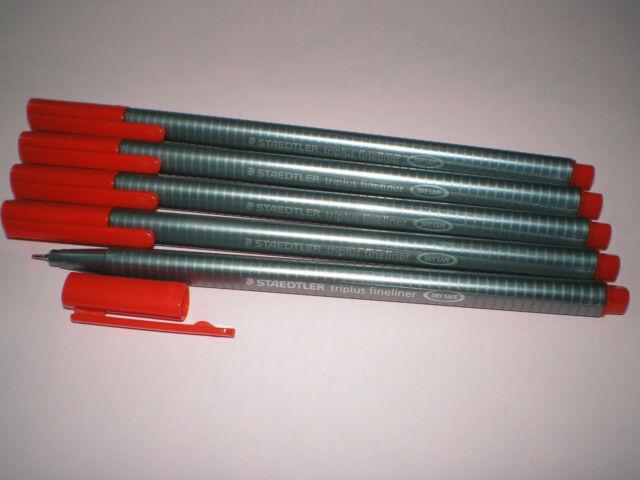5 x STAEDTLER Feinschreiber triplus® fineliner 334-2 rot 0,3mm Dreikant NEU