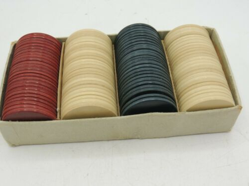 100 Vintage Anchor Clay Poker Chips Plain Red White Ivory Original Box