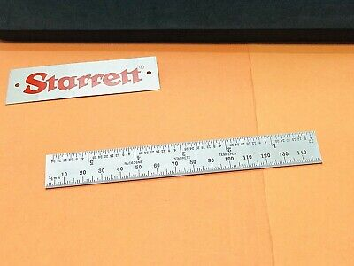 Starrett No.c636me-150 150mm Spring-tempered Steel Rule Mm And Inch Grad. Usa.