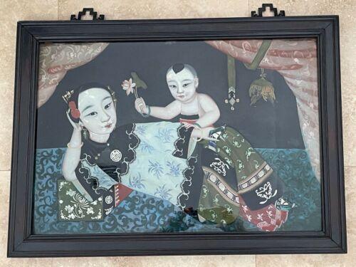 "Vintage Rectangular Asian Reverse Painting on Glass 29.5"" X 21.5"""