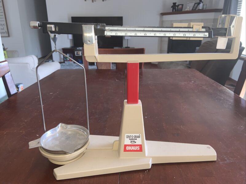 Vintage OHAUS GRAM CENT-O-GRAM Model 311 Four Beam Balance Scale 311g & Basket