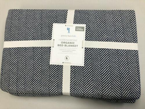 Pottery Barn Kids Organic Herringbone Bed Blanket Full/Queen Navy Blue