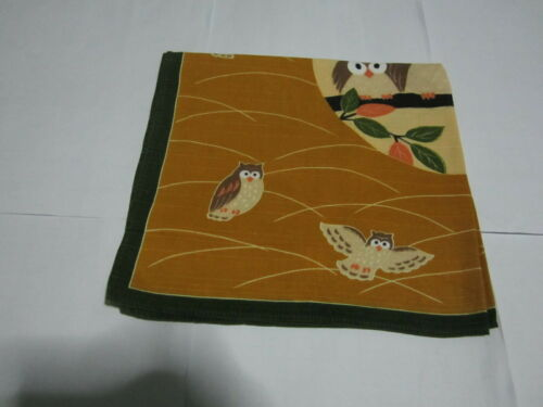 """Japanese Furoshiki Cloth Wrapping Scarf Tapestry 19"""" Cotton Brown Owl Pattern #2"""