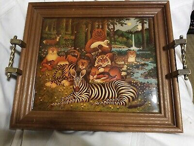 Vtg JB 1967 Serving Tray, Wood Frame, Plastic, Felt Bottom Metal Handles Animals (Animal Serving Tray)