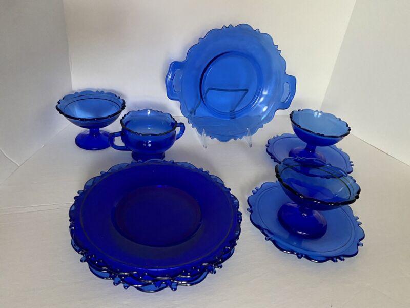 VTG Cobalt Blue Glass Mt Pleasant Lot Plates, Saucers Dessert Cups & Sugar Bowl