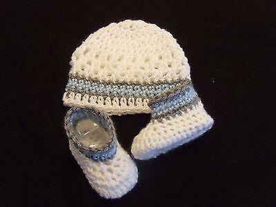 Handmade Crochet Baby Hat Booties Set White/ Blue & Gray  Newborn 3 Months