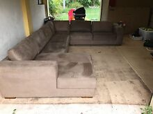 SOLD - Suede Corner Suite with Left Hand Facing Chaise Meadowbrook Logan Area Preview