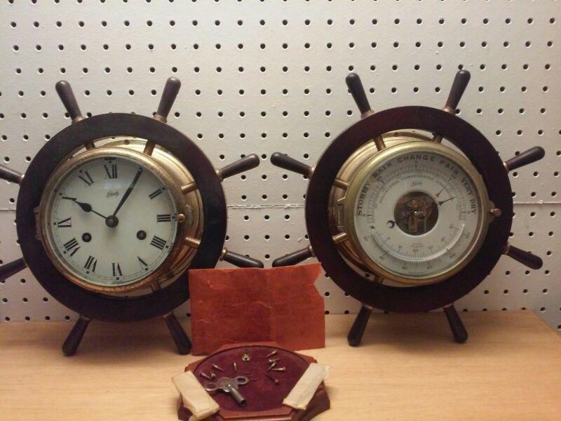 Vintage Schatz Mariner 8 Day Ship Clock and Schatz Barometer Works