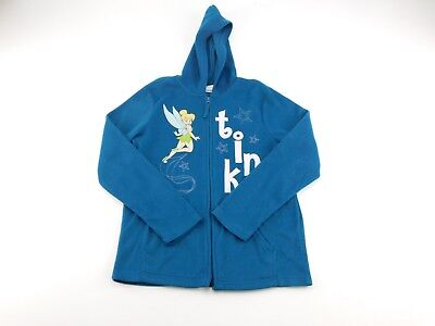 - Disney Womens Teal Tinkerbell Full Zip Fleece Hooded Jacket S
